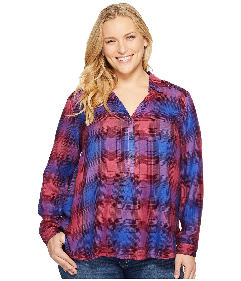 Lucky Brand - Plus Size Embellished Plaid Shirt (Purple Multi) Women's T Shirt