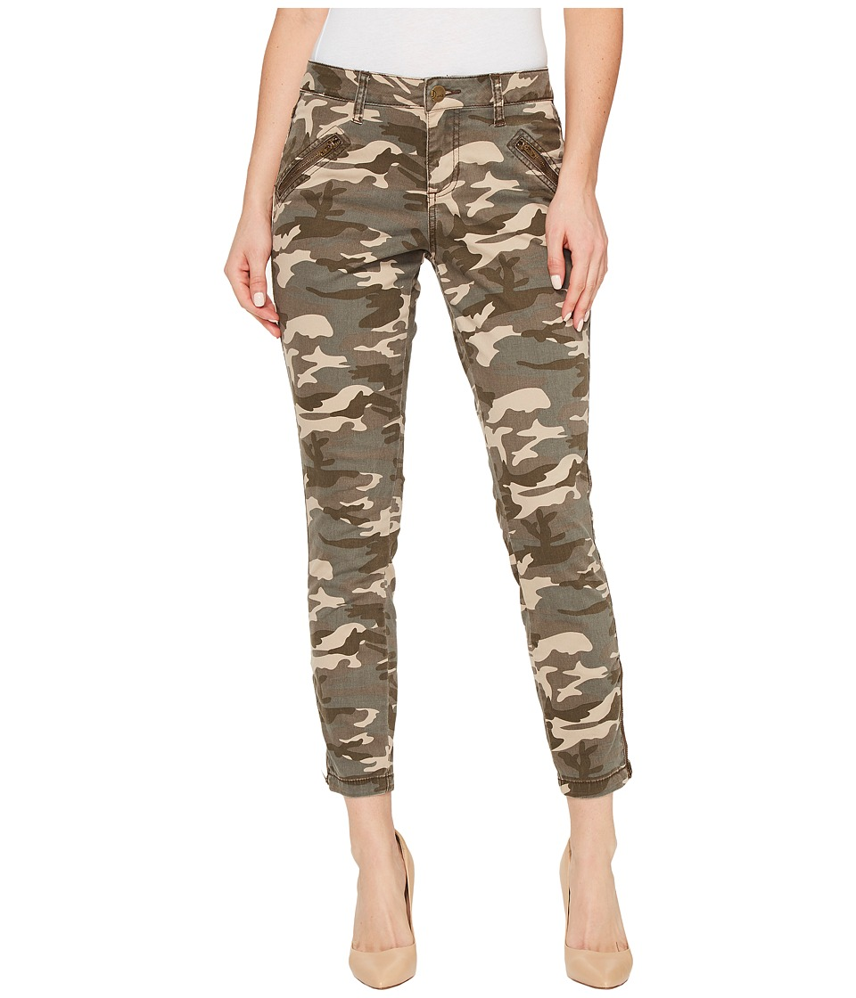 Jag Jeans - Ryan Skinny in Olive Camo Printed Twill with Side Zippers (Olive) Women's Clothing