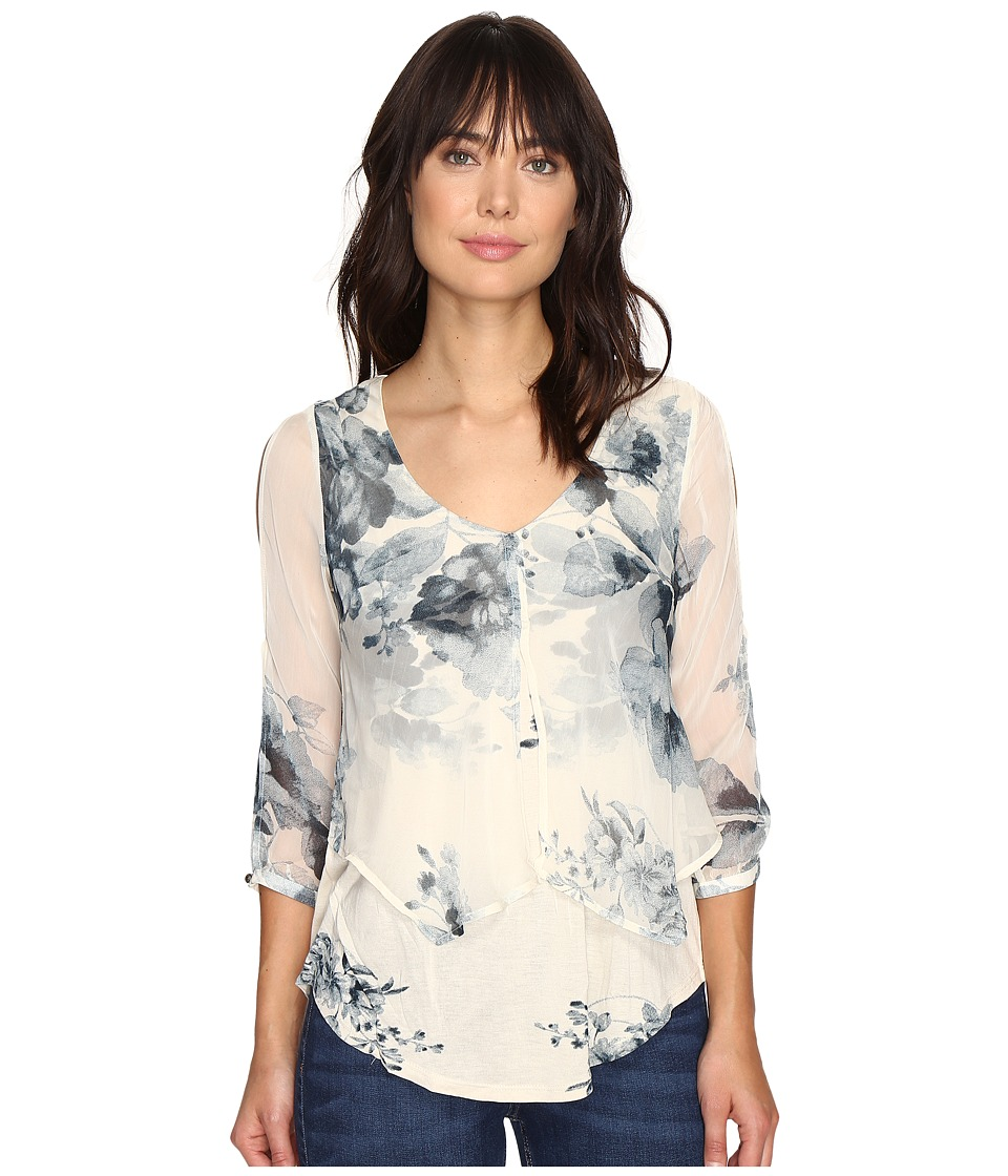 Lucky Brand - Open Floral Printed Top (Natural Multi) Women's Clothing