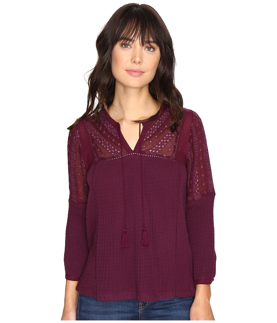 Lucky Brand - Eyelet Peasant Top (Potent Purple) Women's Clothing