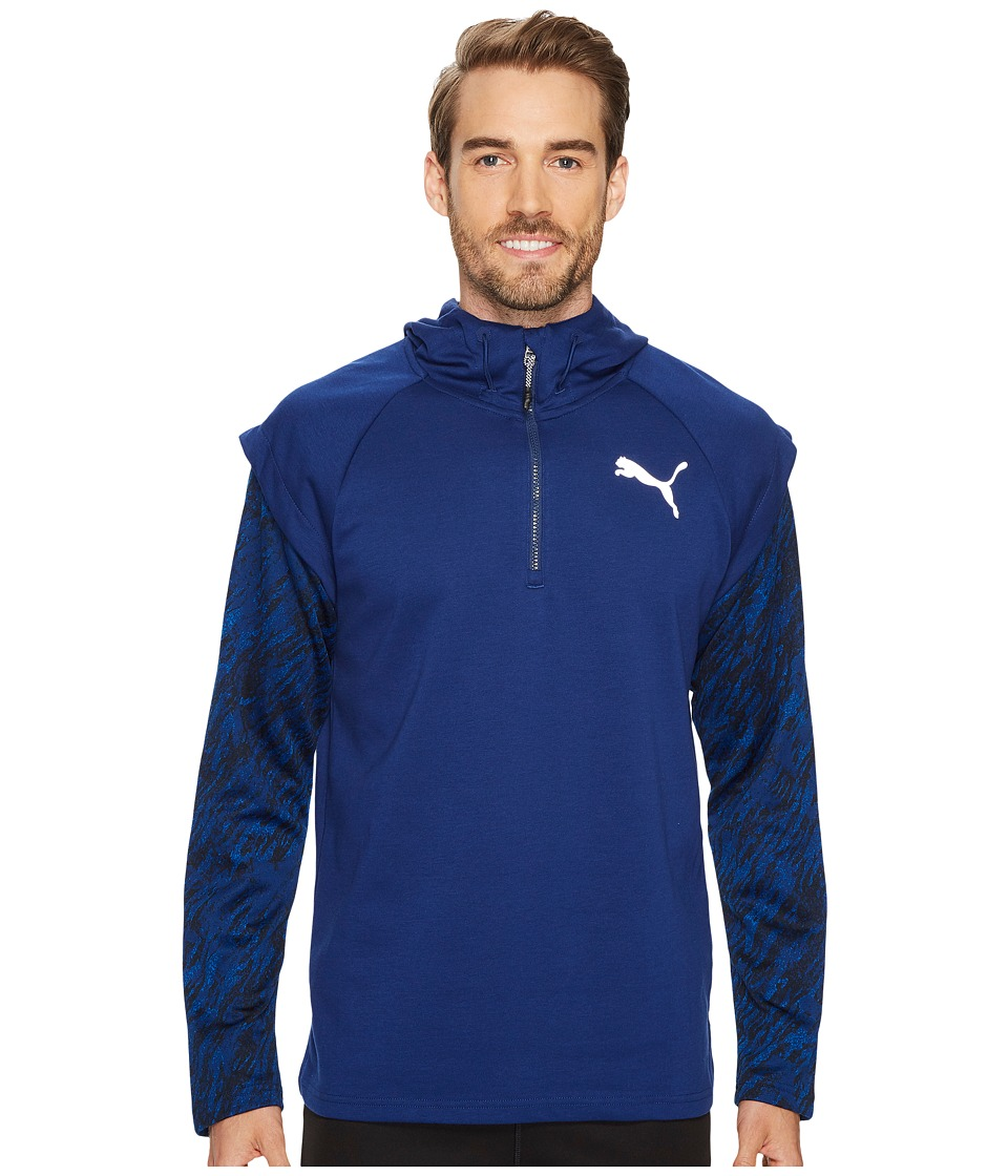 PUMA - 1/4 Zip Energy Hoodie (Blue Depths) Men's Sweatshirt