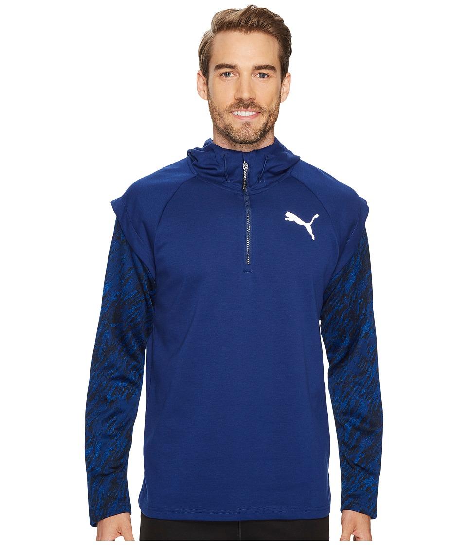 PUMA - 1/4 Zip Energy Hoodie (Blue Depths) Men's Sweatshirt