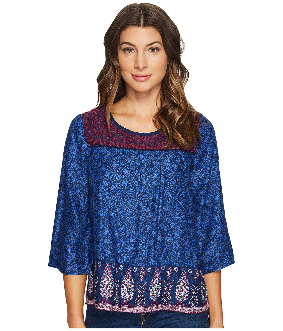 Lucky Brand - Embroidered Border Peasant Top (Navy Multi) Women's Long Sleeve Pullover