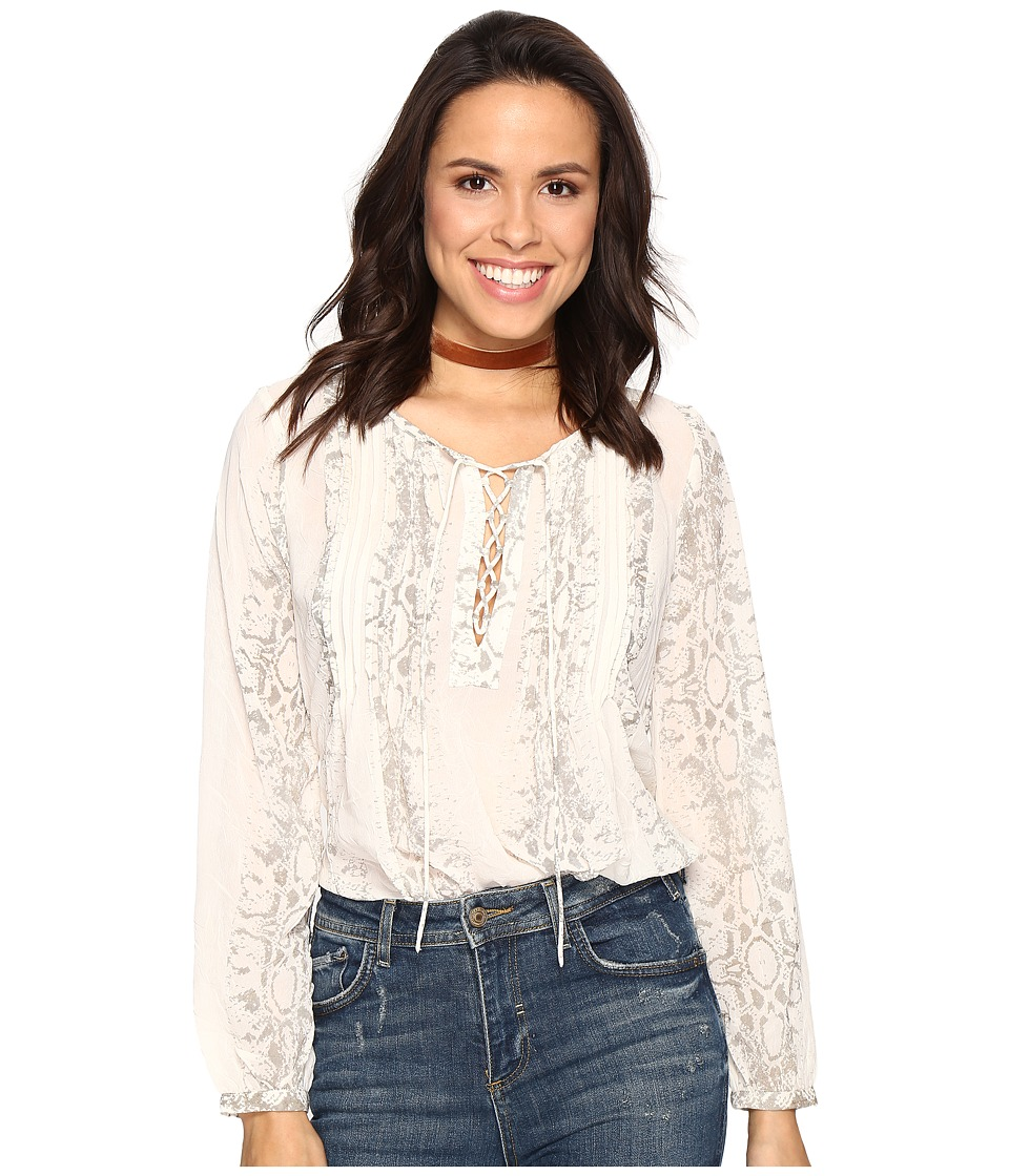 Lucky Brand - Lace-Up Metallic Top (Natural Multi) Women's Blouse