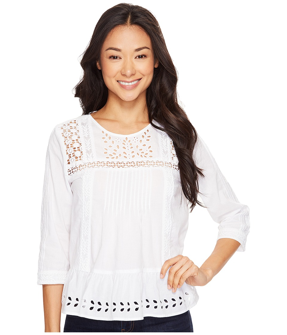 Lucky Brand - Eyelet Peasant Top (Lucky White) Women's Blouse