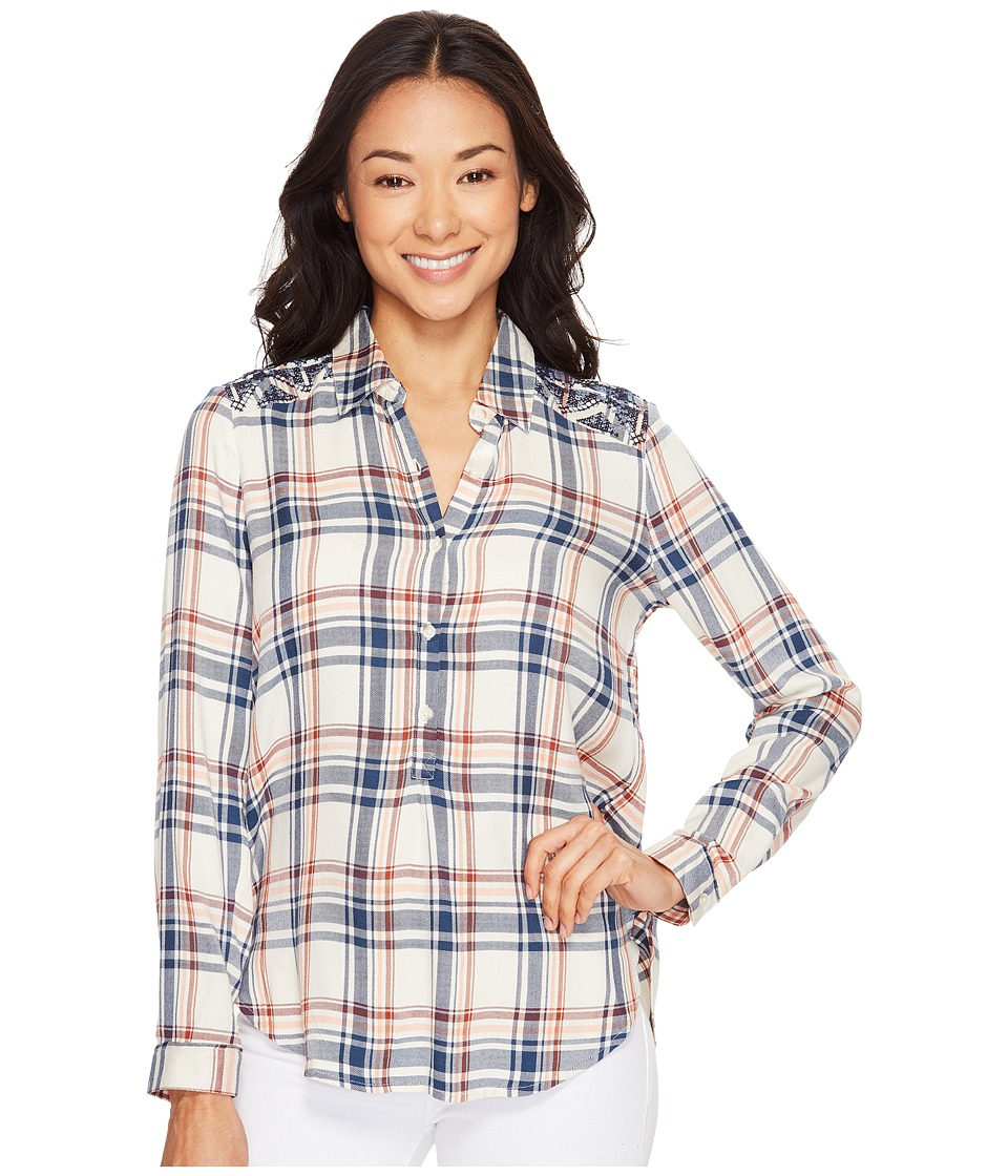 Lucky Brand - Embroidered Plaid Top (Natural Multi) Women's Clothing