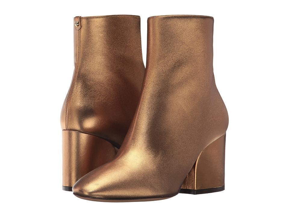 Salvatore Ferragamo Calfskin Mid-Heel Bootie (Bronzo Nappa Silk) Women
