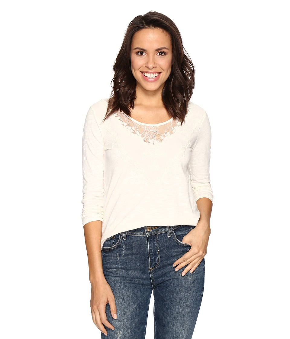 Lucky Brand - Washed Applique Top (Marshmallow) Women's Clothing