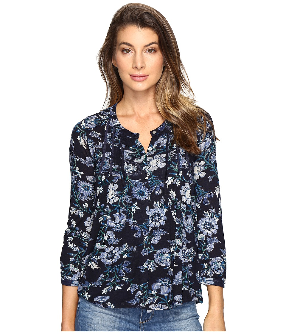 Lucky Brand - Floral Vines Top (Blue Multi) Women's Clothing