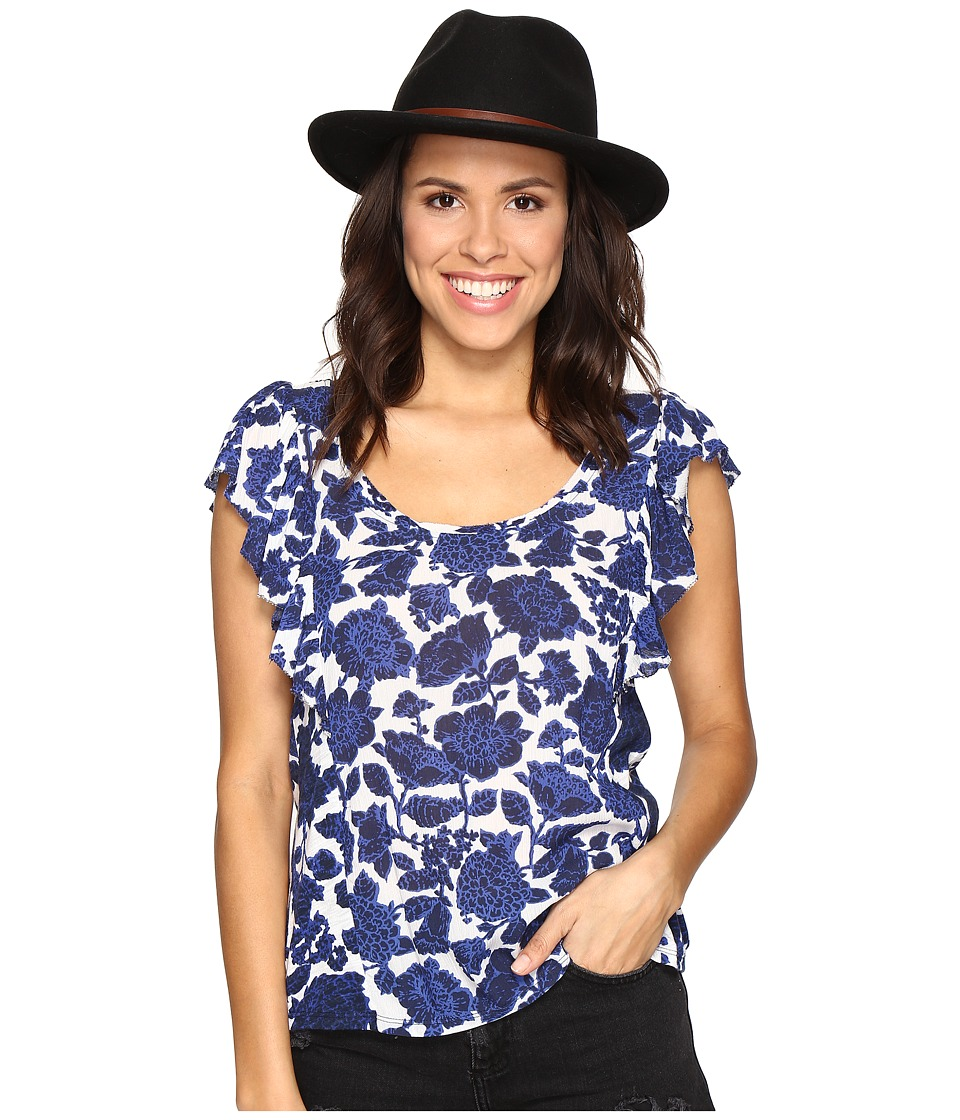 Lucky Brand - Floral Flutter Top (Blue Multi) Women's Clothing