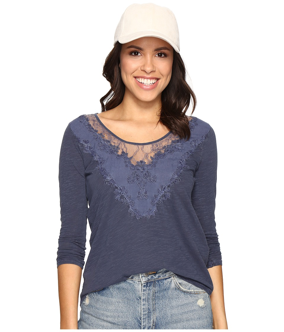 Lucky Brand - Washed Applique Top (Navy) Women's Clothing