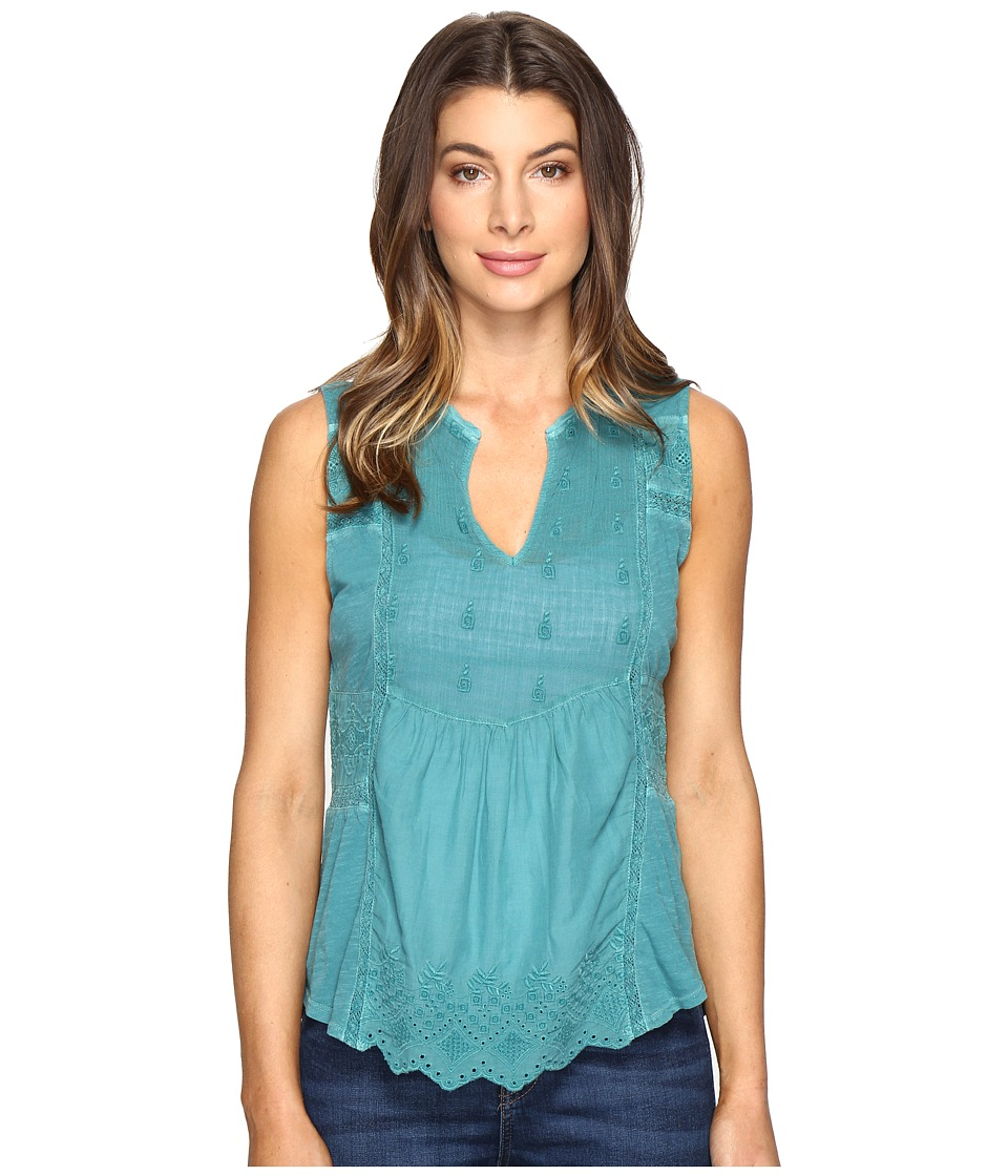 Lucky Brand - Washed Woven Mix Tank Top (Everglade) Women's Clothing