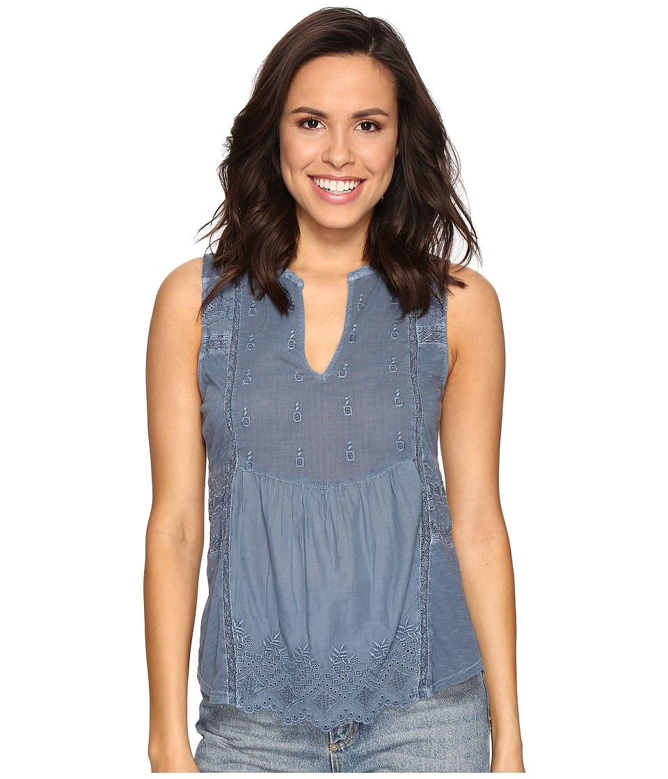 Lucky Brand - Washed Woven Mix Tank Top (Moonlight Ocean) Women's Clothing