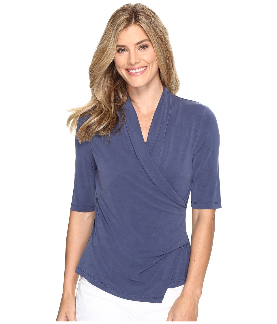 NIC+ZOE - City Retreat Wrap Top (Indigo) Women's Clothing