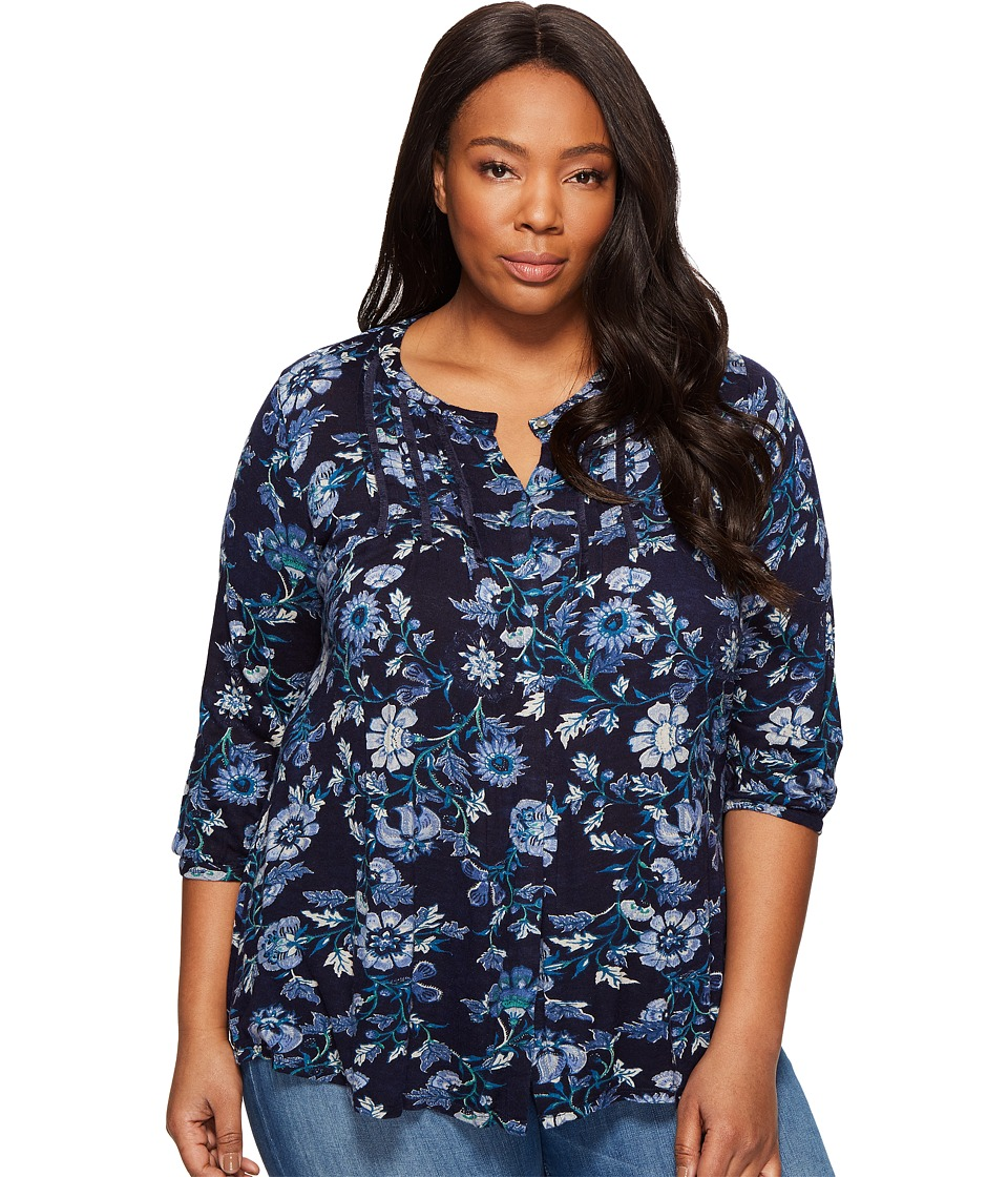 Lucky Brand - Plus Size Floral Vines Top (Blue Multi) Women's Long Sleeve Button Up