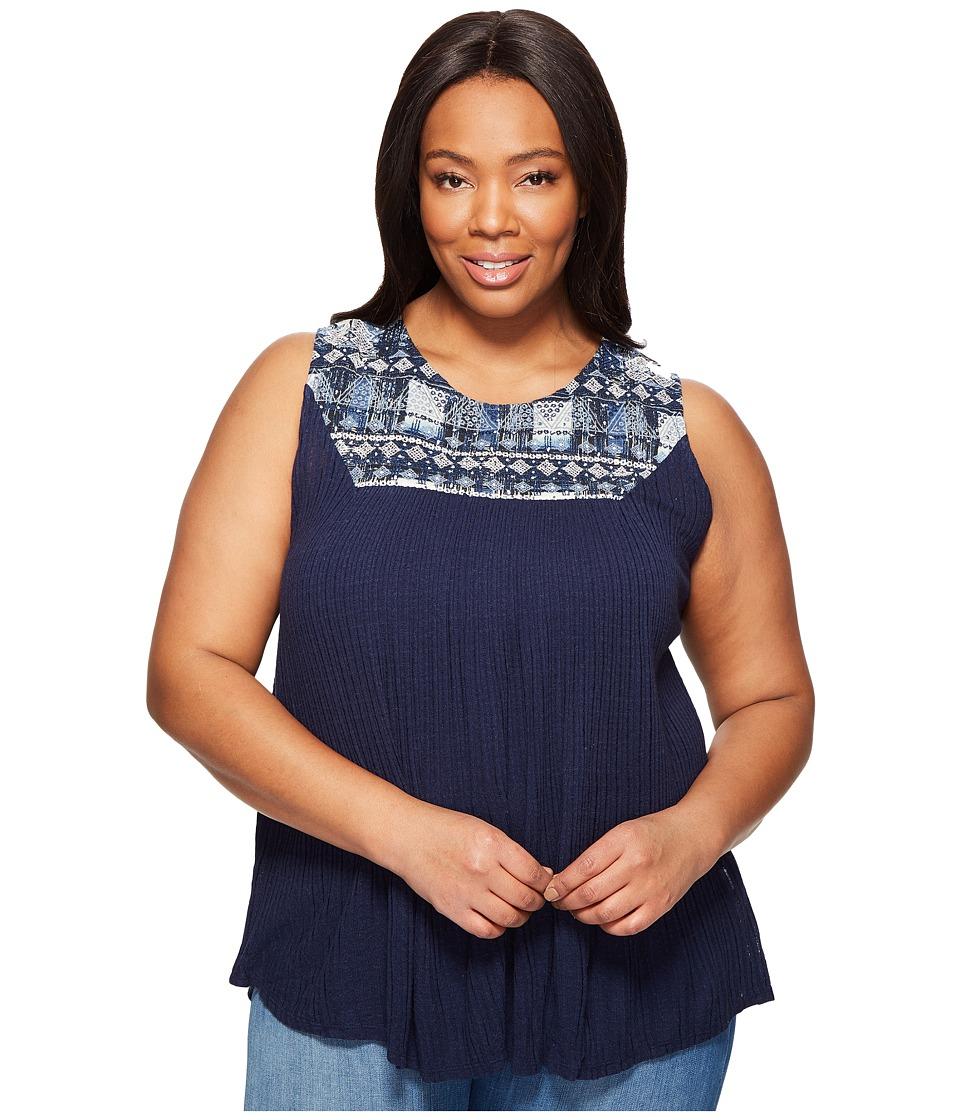 Lucky Brand - Plus Size Embroidered Yoke Tank Top (American Navy) Women's Sleeveless