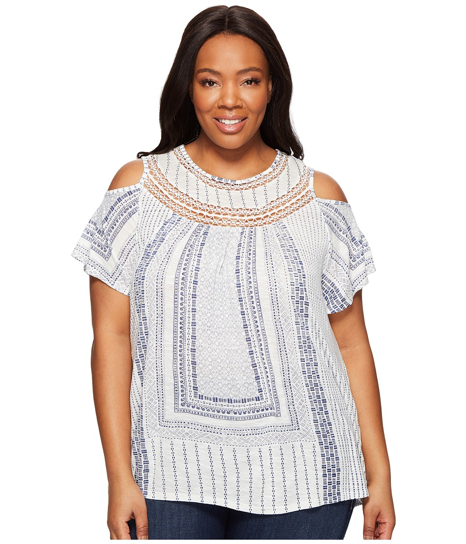 Lucky Brand - Plus Size Cold Shoulder Crochet Top (White Multi) Women's Short Sleeve Pullover
