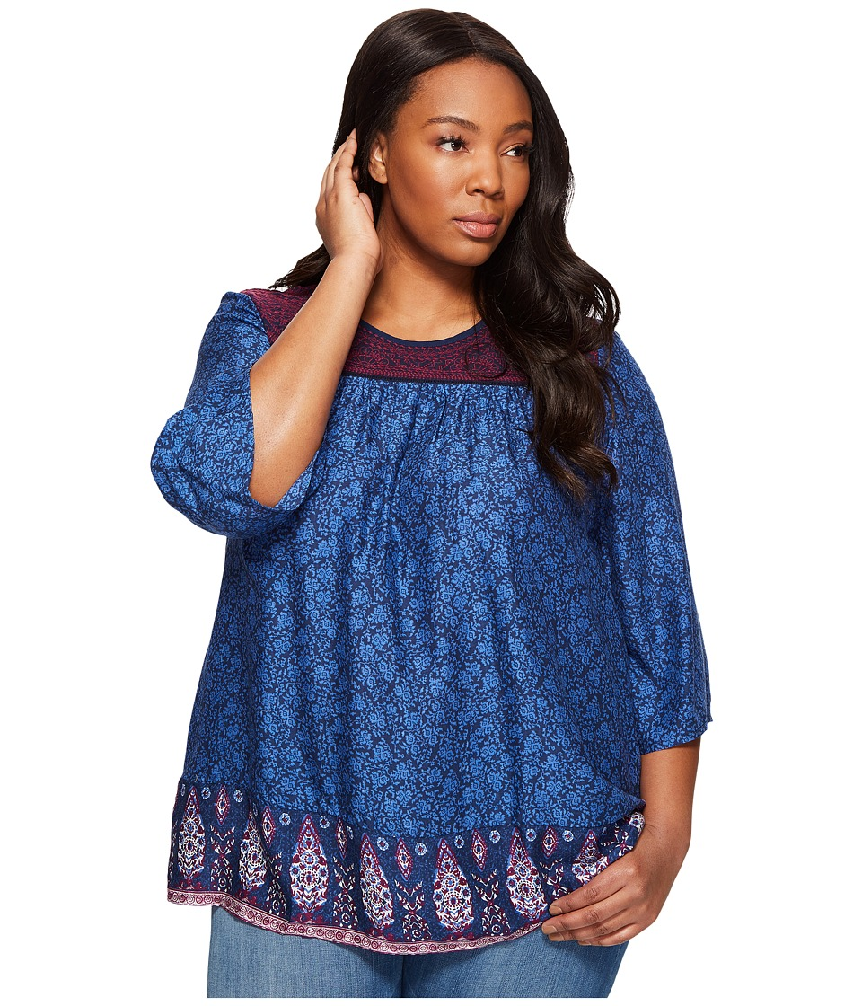 Lucky Brand - Plus Size Purple Peasant Top (Navy Multi) Women's Clothing