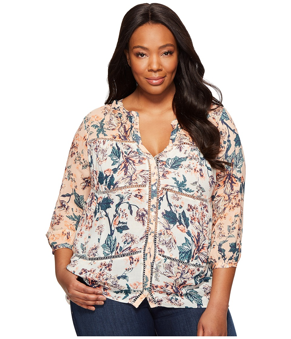 Lucky Brand - Plus Size Mixed Print Peasant Top (Natural Multi) Women's Long Sleeve Button Up