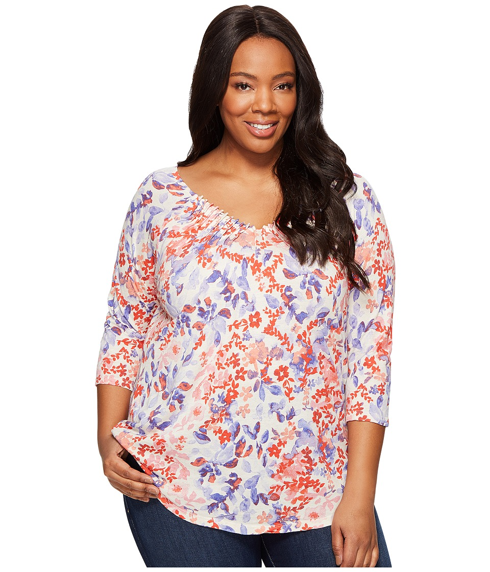 Lucky Brand - Plus Size Printed Pintuck Top (Coral Multi) Women's Long Sleeve Pullover