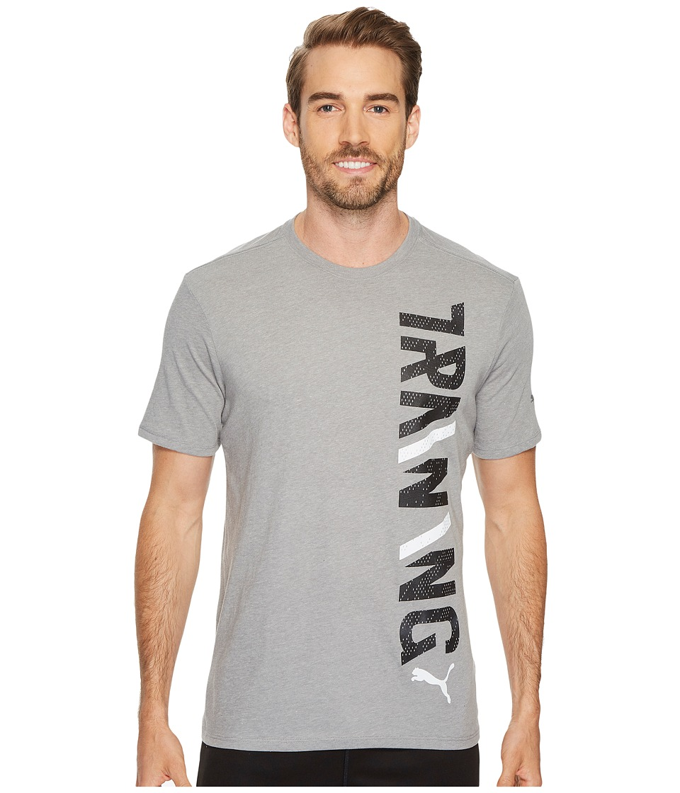 PUMA - Training Vertical Tee (Medium Gray Heather/PUMA Black) Men's T Shirt