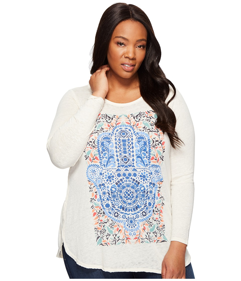 Lucky Brand - Plus Size Watercolor Hamsa Hand Tee (White Cap Grey) Women's T Shirt