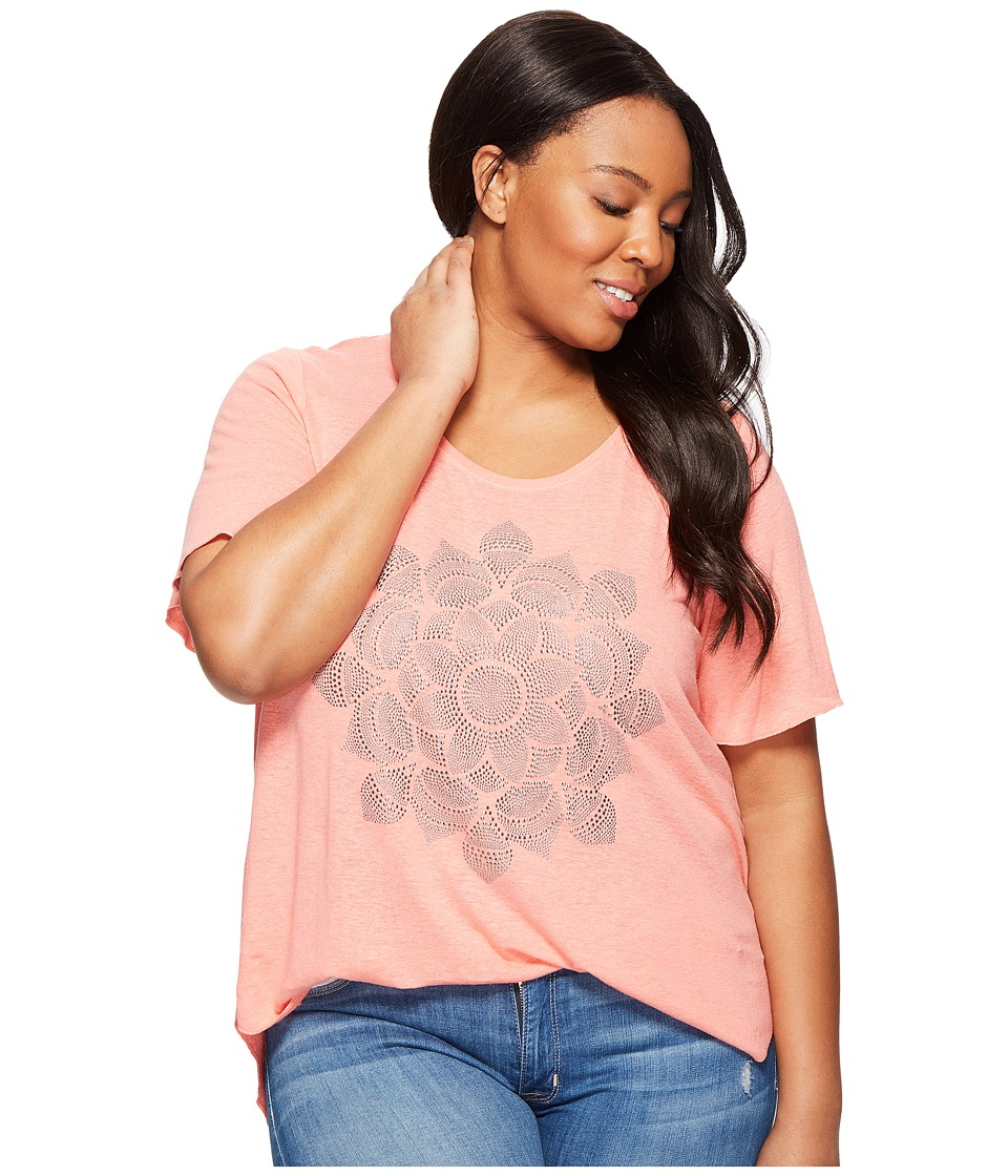 Lucky Brand - Plus Size Studded Lotus Tee (Shell Pink) Women's T Shirt
