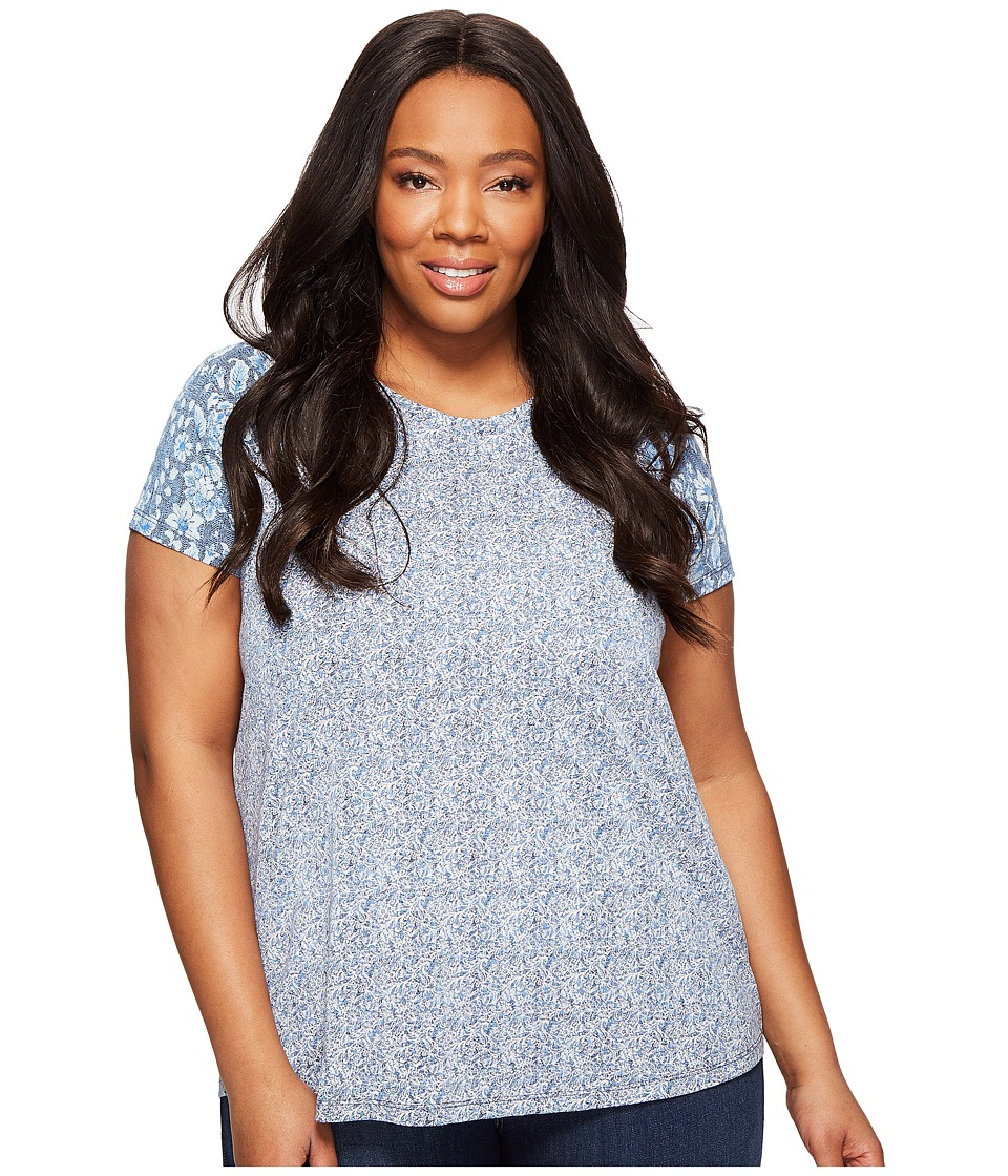 Lucky Brand Plus Size Floral Mixed Tee (Blue Multi) Women