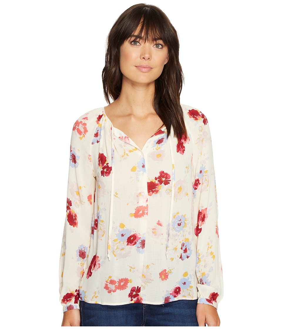 Lucky Brand - Major Floral Peasant Top (Natural Multi) Women's Long Sleeve Button Up