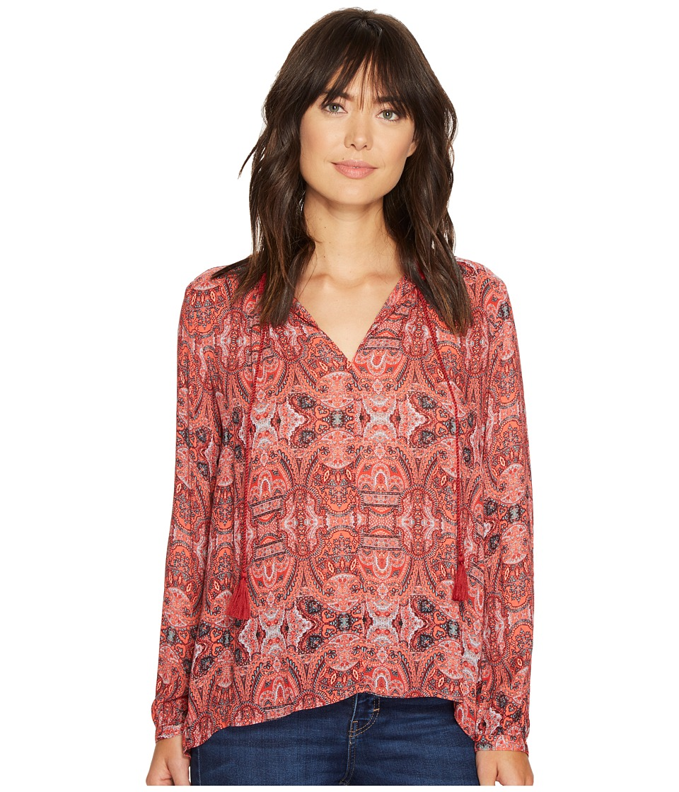 Lucky Brand - Printed Parachute Top (Red Multi) Women's Clothing