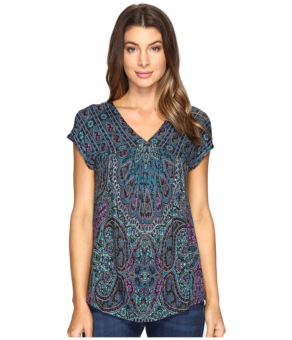 Lucky Brand - Flutter Hem Top (Blue Multi) Women's Clothing