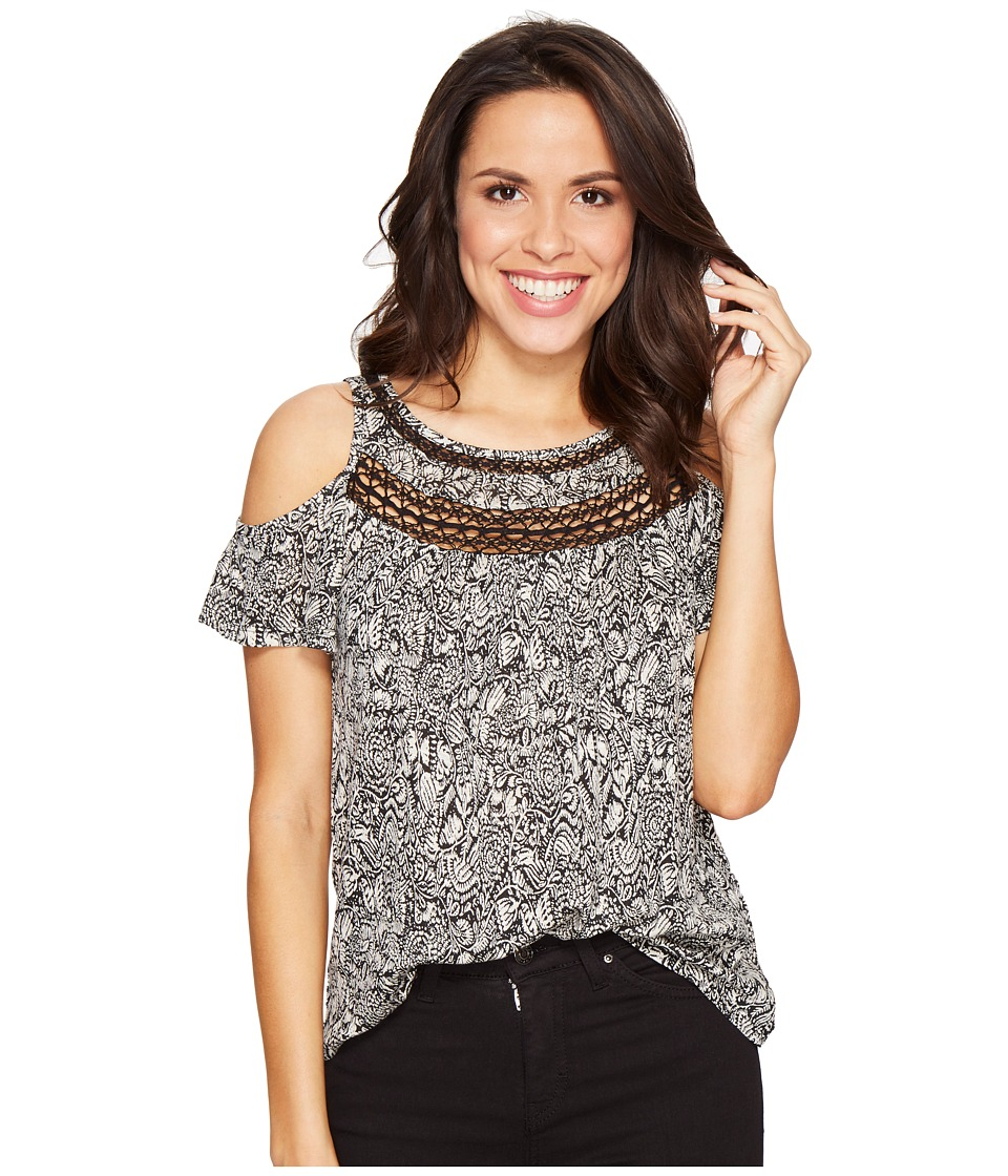 Lucky Brand - Cold Shoulder Crochet Top (Black Multi) Women's Clothing