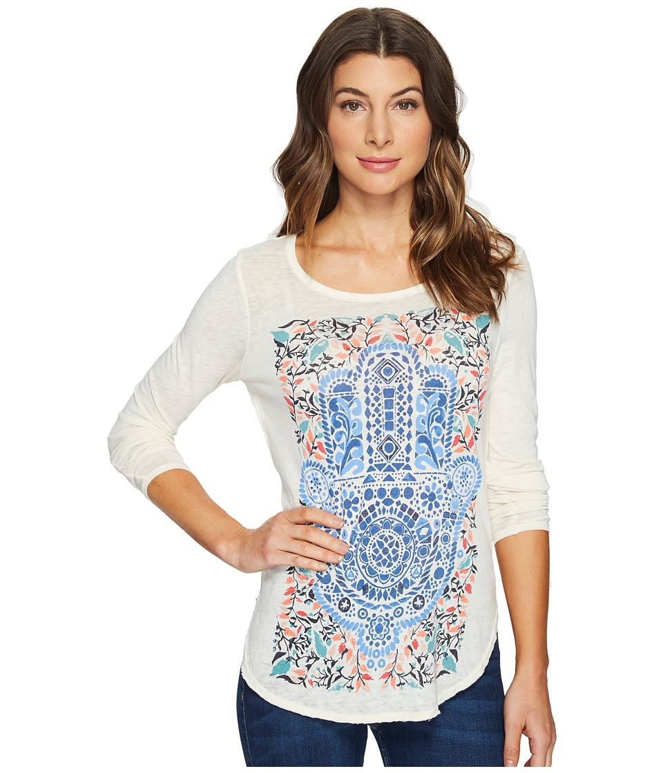 Lucky Brand - Watercolor Hamsa Top (White Cap Grey) Women's Clothing