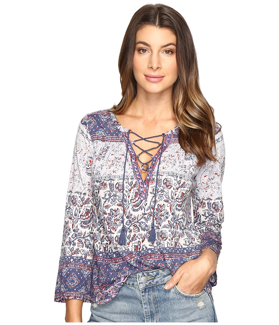 Lucky Brand - Lace-Up Peasant Top (Multi) Women's Clothing