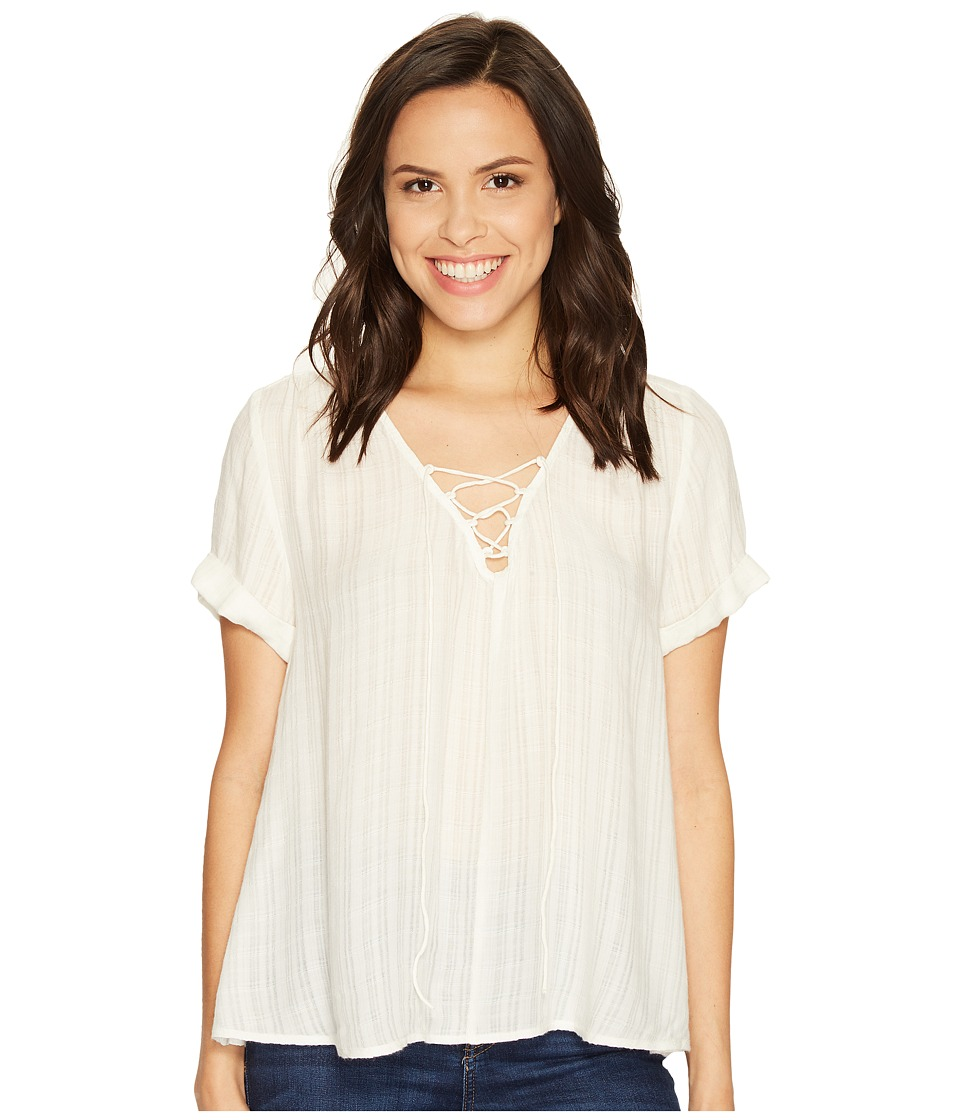 Lucky Brand - Lace-Up Top (Eggshell) Women's Short Sleeve Pullover