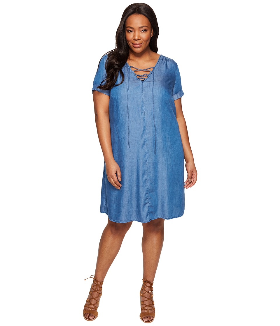 Lucky Brand - Plus Size Lace-Up Swing Dress (Tencel Medium Wash) Women's Dress