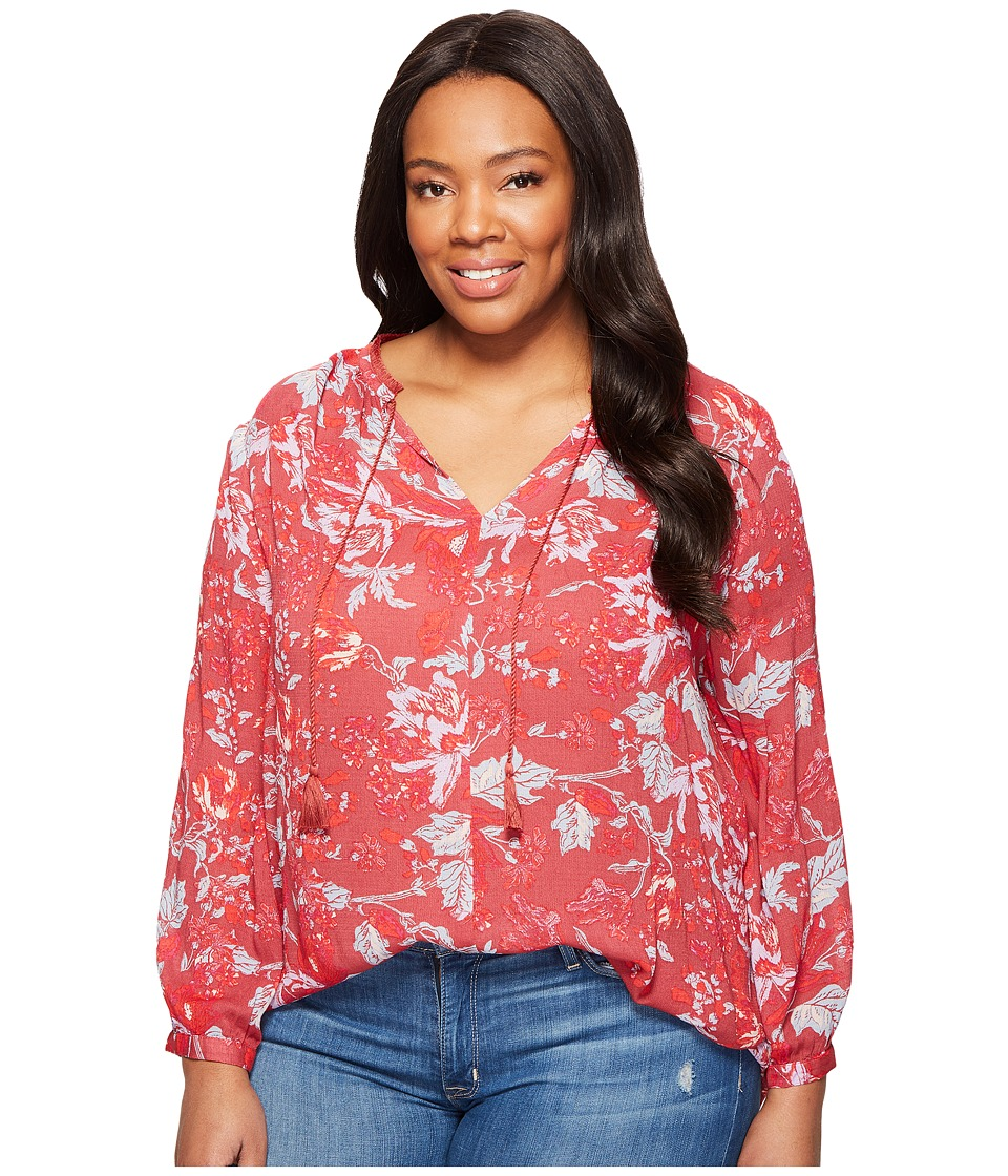 Lucky Brand - Plus Size Floral Fringe Neck Blouse (Red Multi) Women's Long Sleeve Pullover
