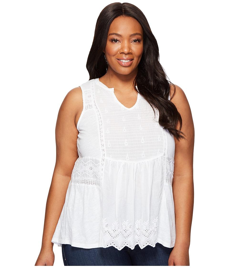 Lucky Brand - Plus Size Woven Mixed Shell (Lucky White) Women's Sleeveless