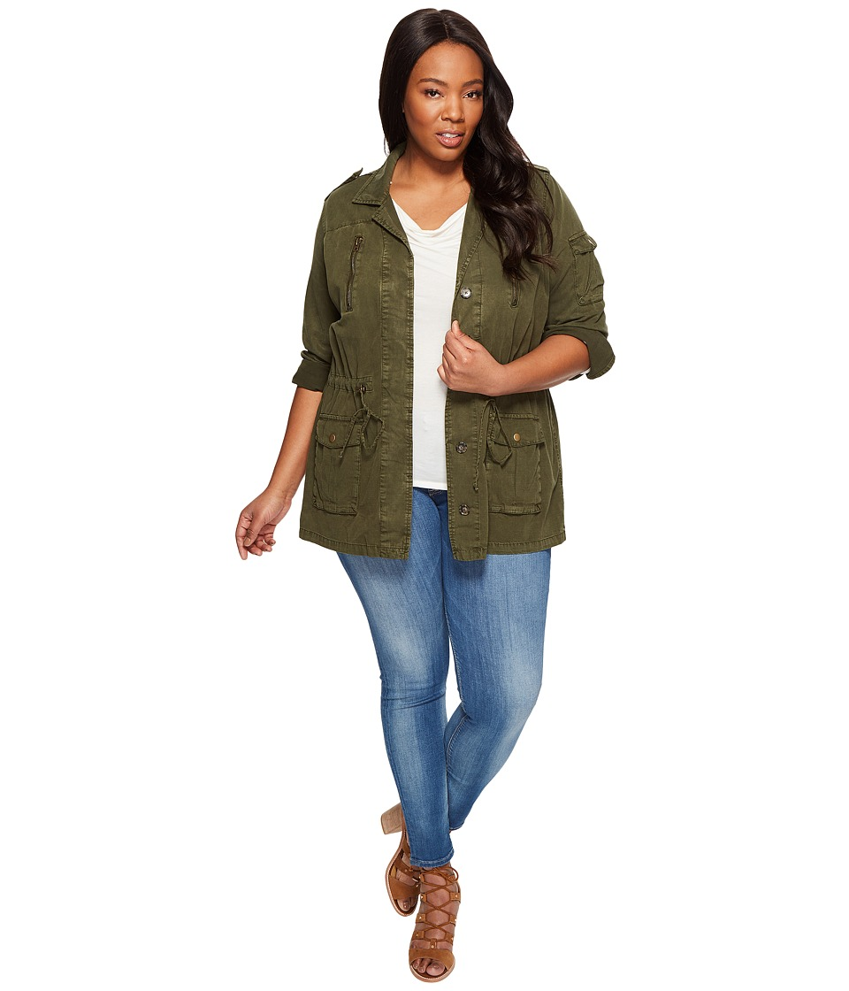 Lucky Brand - Plus Size Soft Military Jacket (Military Olive) Women's Coat