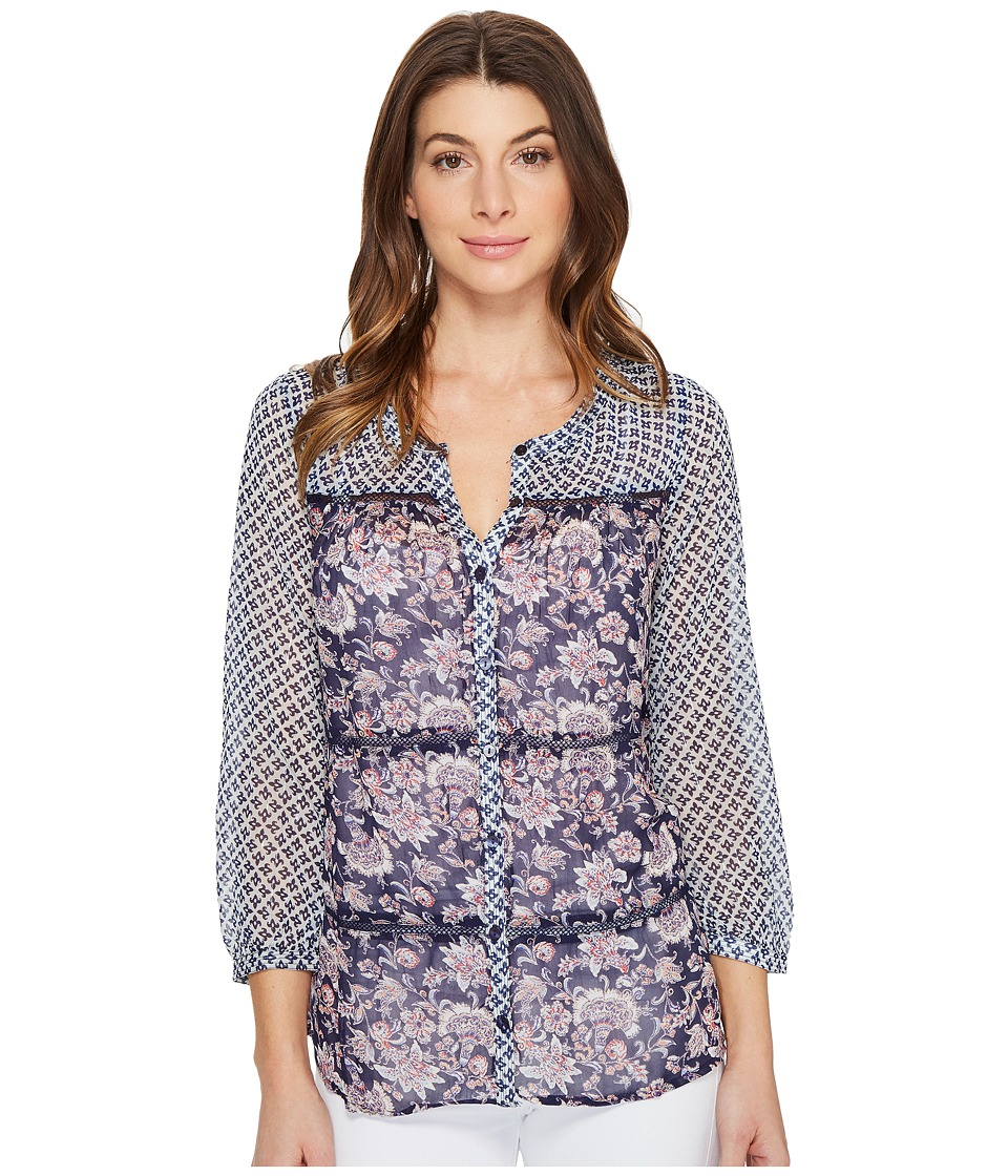 Lucky Brand - Blue Mix Print Top (Navy Multi) Women's Long Sleeve Button Up