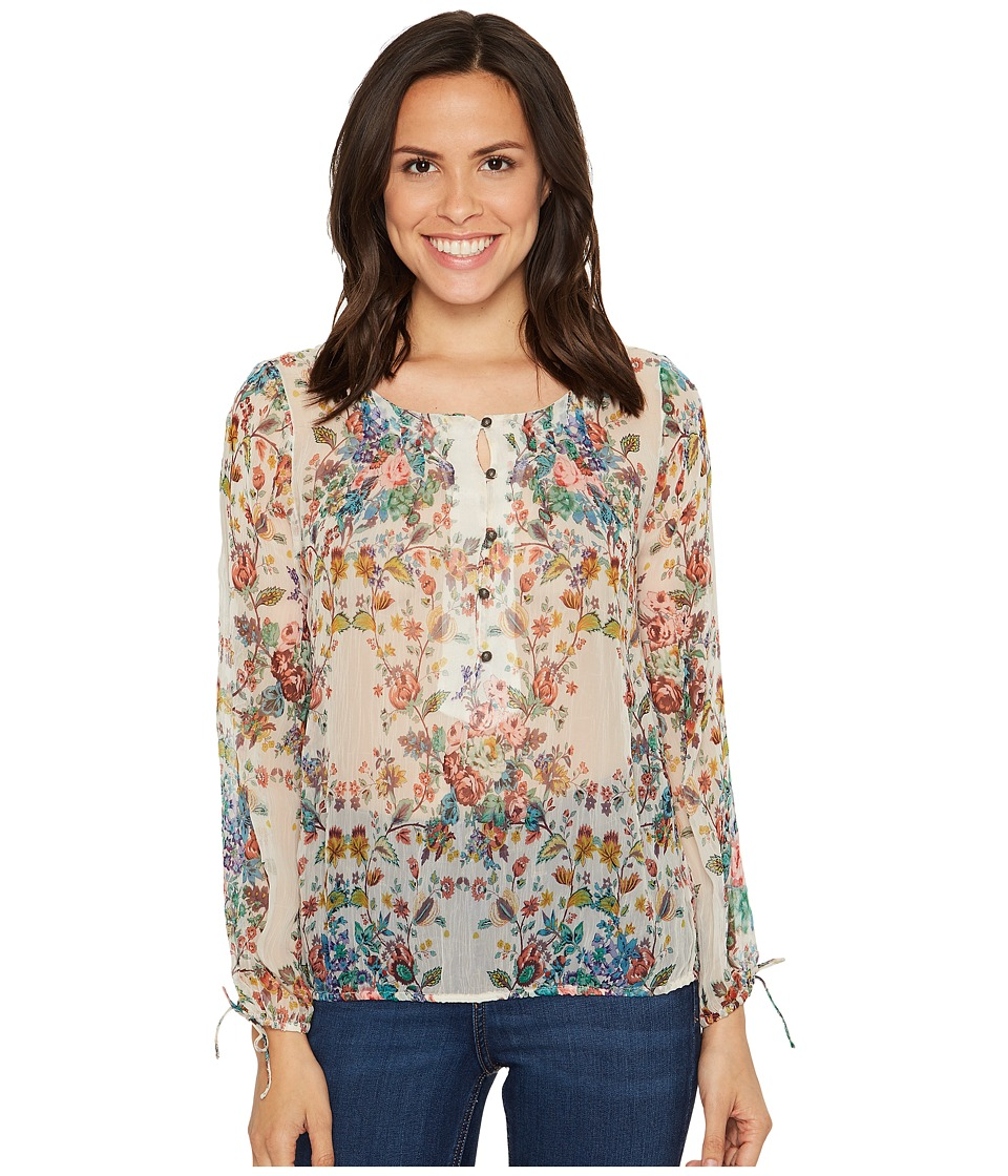 Lucky Brand - Sheer Floral Peasant Top (Natural Multi) Women's Long Sleeve Pullover