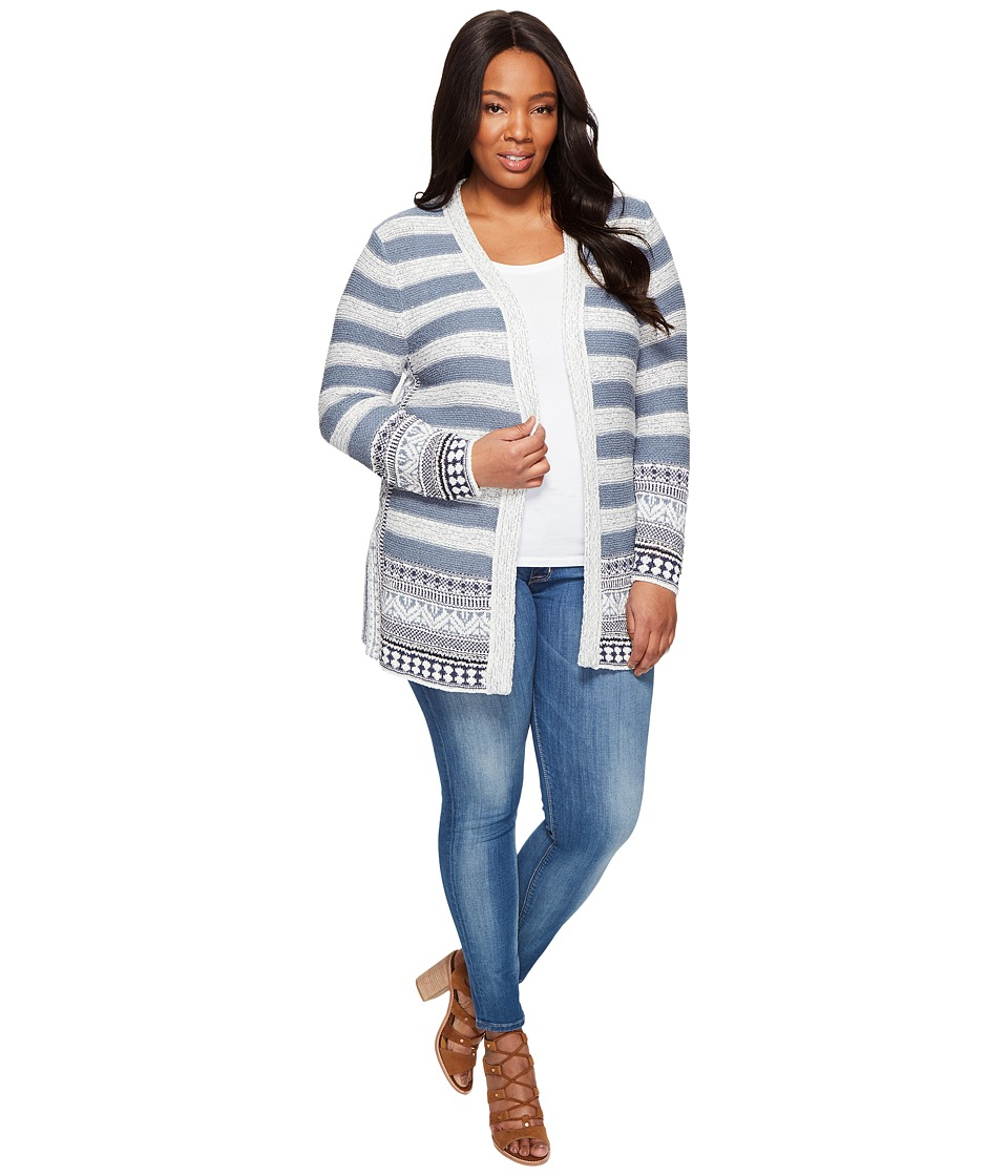 Lucky Brand - Plus Size Geo Border Cardigan (Blue Multi) Women's Sweater