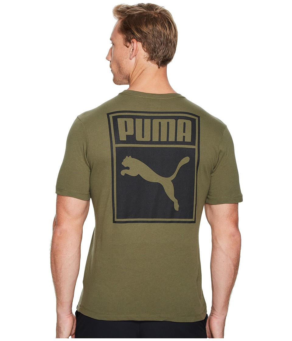 PUMA - Archinve Logo Box Tee (Olive Night/Black) Men's T Shirt