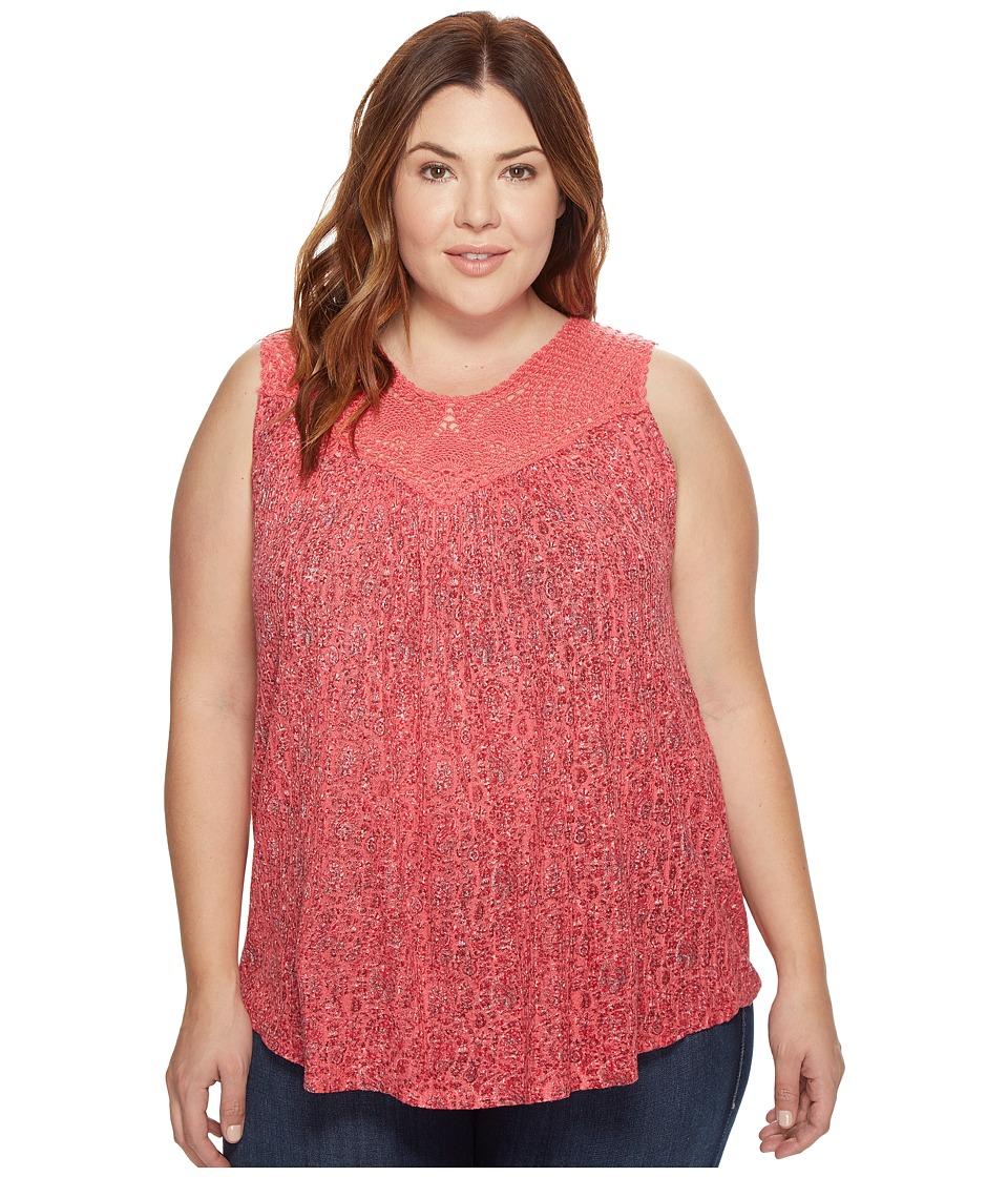 Lucky Brand - Plus Size Paisley Crochet Tank Top (Red Multi) Women's Sleeveless