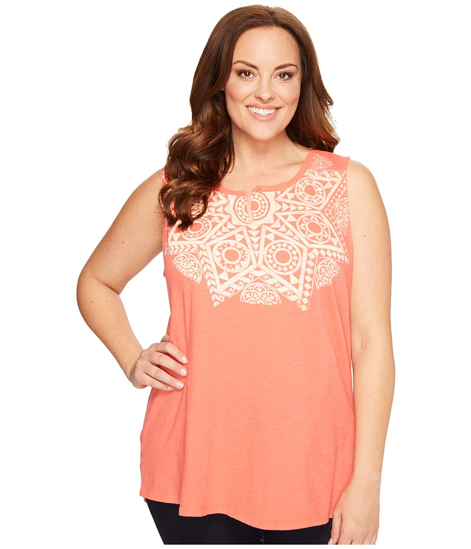 Lucky Brand - Plus Size Mosaic Star Tank Top (Coral Quarts) Women's Sleeveless