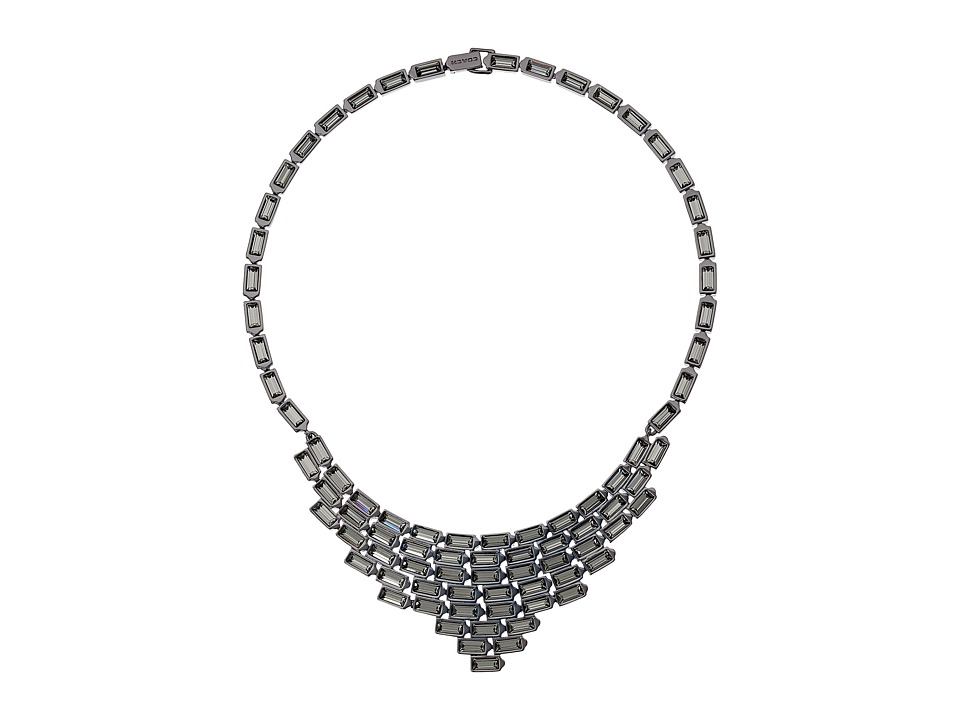 COACH - Hangtag Baguette Bib Necklace (Black) Necklace