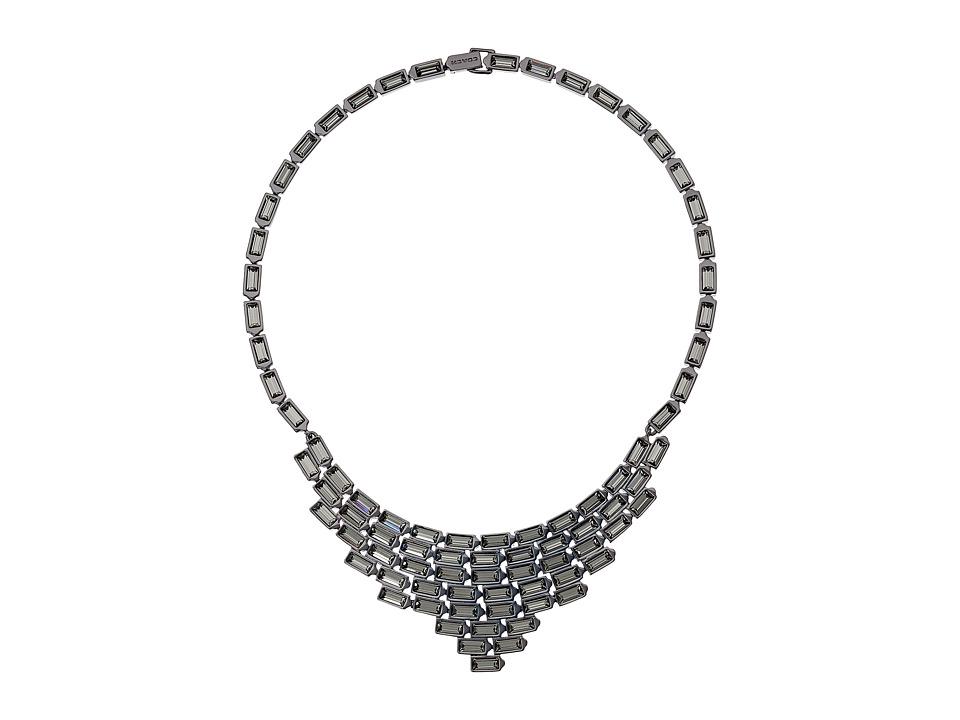 COACH - Hangtag Baguette Bib Necklace (Black) Necklace