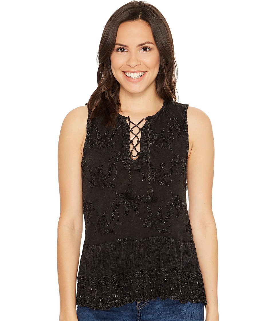 Lucky Brand - Washed Studded Tank Top (Lucky Black) Women's Sleeveless