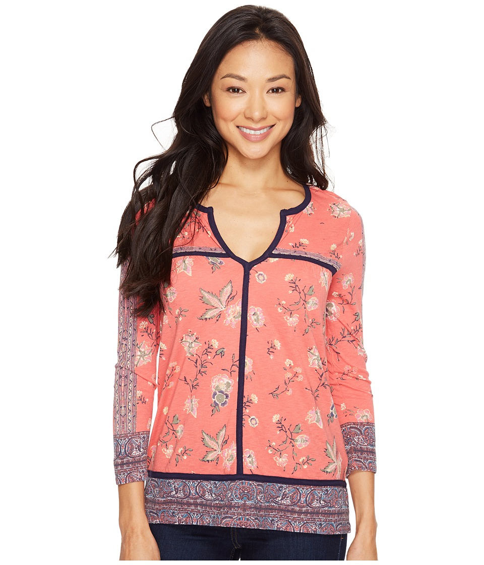 Lucky Brand - Floral Border Top (Red Multi) Women's Clothing