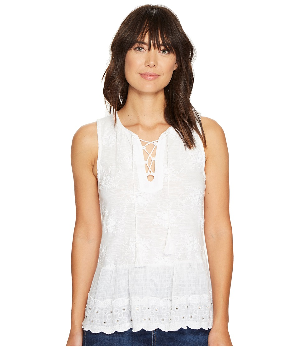 Lucky Brand - Studded Peplum Tank Top (Bright White) Women's Sleeveless